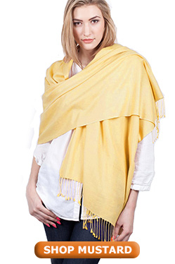 Orange Mustard Pashmina Shawl Wrap