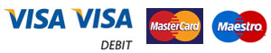 Pay with Visa, Visa Debit, Mastercard, Maestro card