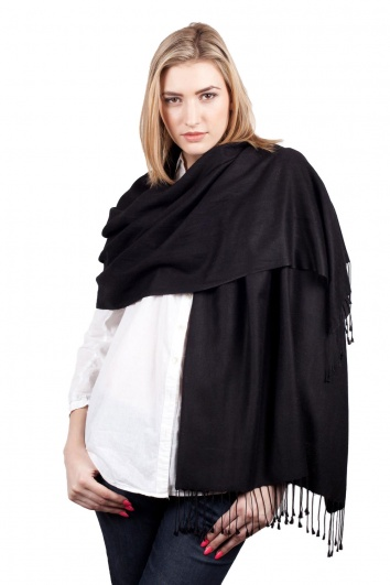 Super Soft Black Italian Pashmina with Tassels
