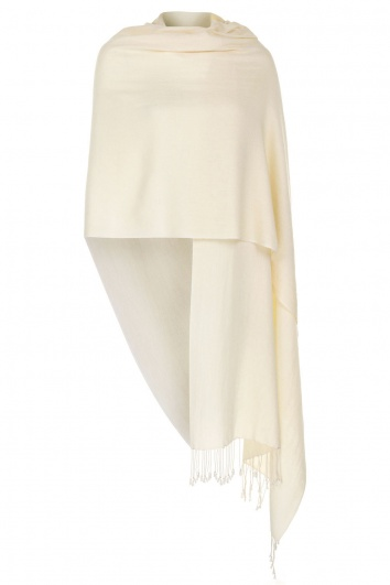 Super Soft Cream Italian Pashmina with Tassels