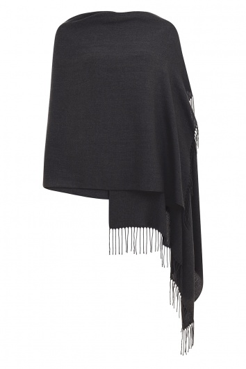 Super Soft Dark Grey Italian Pashmina with Tassels
