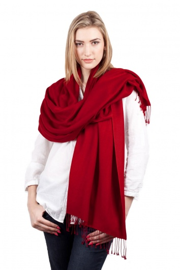 Super Soft Deep Red Italian Pashmina with Tassels