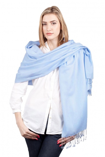 Super Soft Light Blue Italian Pashmina with Tassels