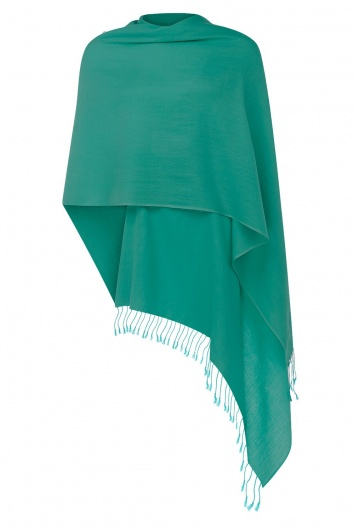 Super Soft Teal Italian Pashmina with Tassels