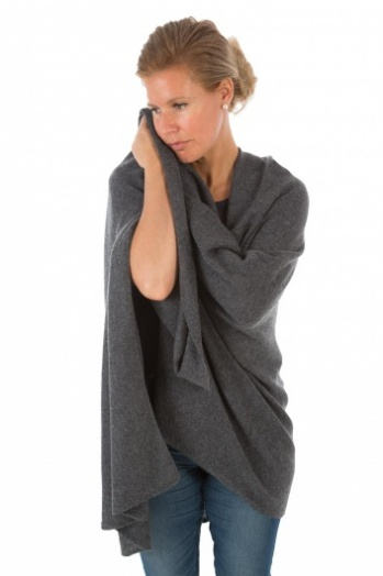 100% Cashmere Wrap - Charcoal Grey