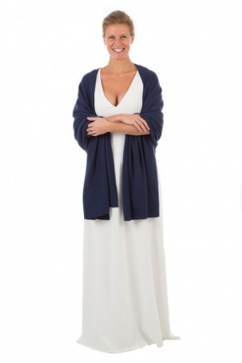 100% Cashmere Wrap - Midnight Blue