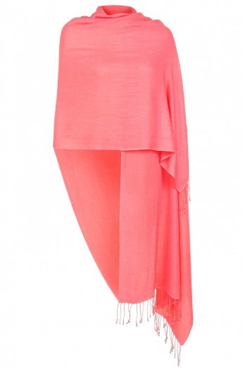 Super Soft Coral Italian Pashmina with Tassels