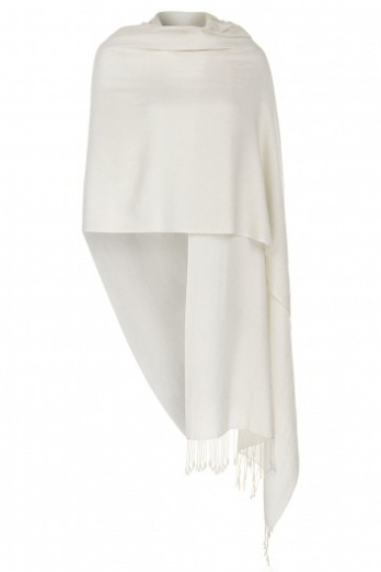 Super Soft Ivory Italian Pashmina with Tassels