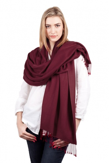 Super Soft Maroon Italian Pashmina with Tassels