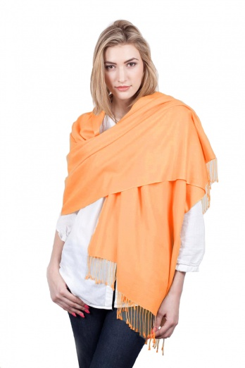 Super Soft Ochre Italian Pashmina with Tassels