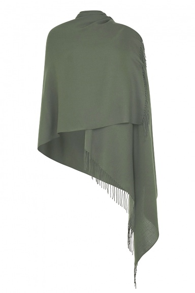 Super Soft Olive Green Italian Pashmina with Tassels - Slightly Imperfect