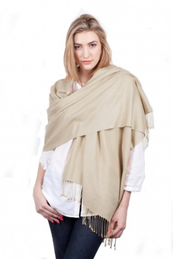 Super Soft Beige Italian Pashmina with Tassels