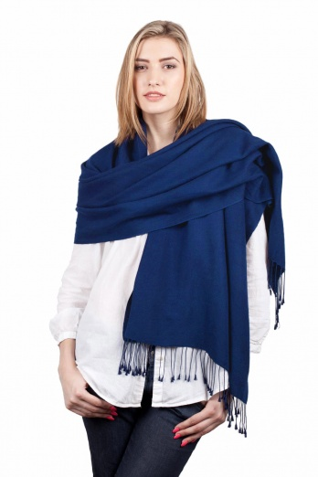 Super Soft Blue Italian Pashmina with Tassels