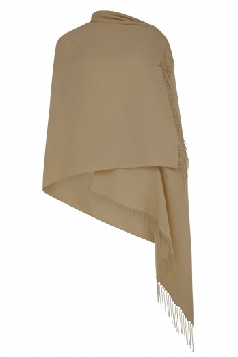 Super Soft Camel Italian Pashmina with Tassels - Imperfect