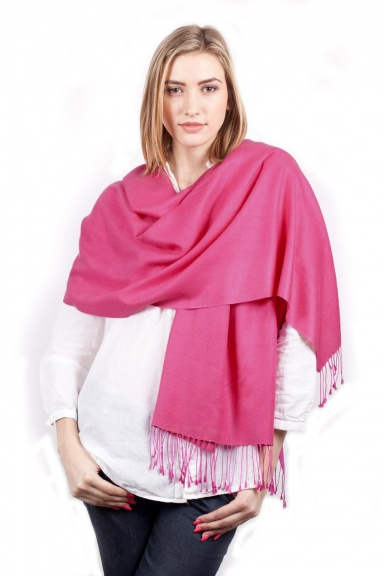 Super Soft Cerise Italian Pashmina with Tassels