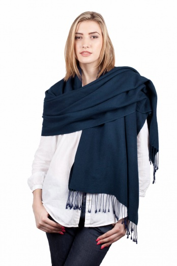 Super Soft Navy Blue Italian Pashmina with Tassels - Slightly Imperfect