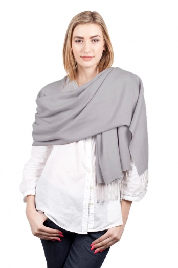 Super Soft Mid Grey Italian Pashmina with Tassels