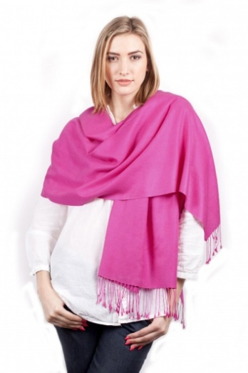 Super Soft Fuchsia Italian Pashmina with Tassels