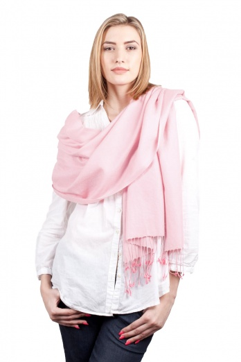 Super Soft Light Pink Italian Pashmina with Tassels