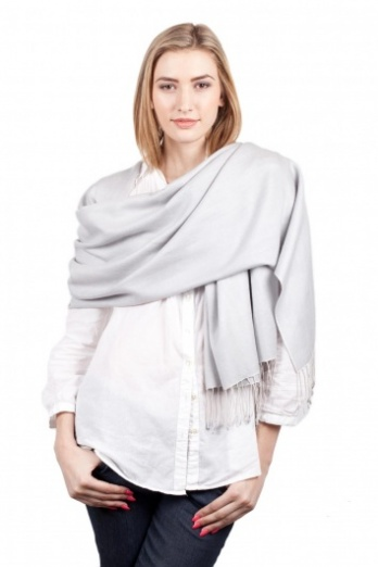 Super Soft Pearl Grey Italian Pashmina with Tassels