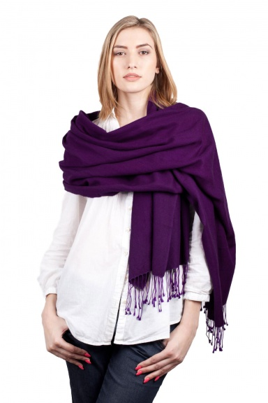 Super Soft Purple Italian Pashmina with Tassels - Slightly Imperfect
