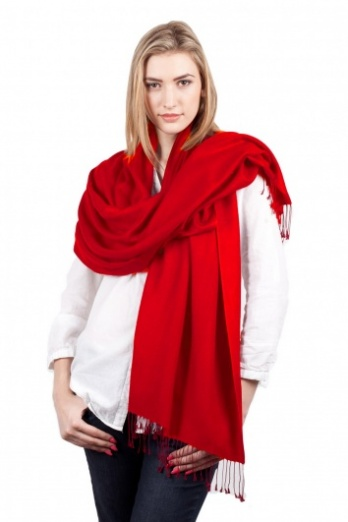 Super Soft Red Italian Pashmina with Tassels