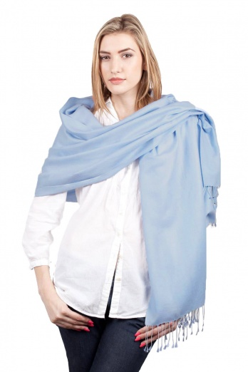 Super Soft Sky Blue Italian Pashmina with Tassels