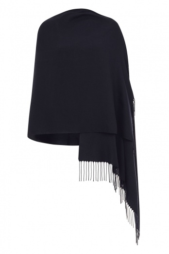 Super Soft Ultra Dark Blue Italian Pashmina with Tassels