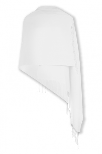 Super Soft White Italian Pashmina with Tassels