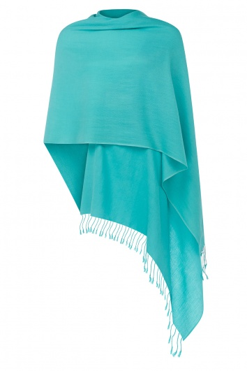 Super Soft Turquoise Italian Pashmina with Tassels