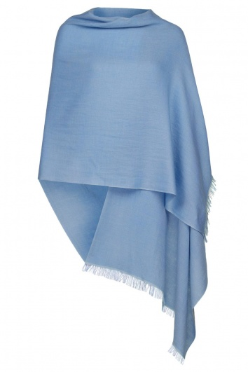 Sky Blue Pashmina - 70% Fine Wool Mix